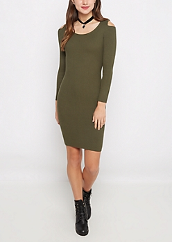 Olive Cold Shoulder Ribbed Bodycon Dress