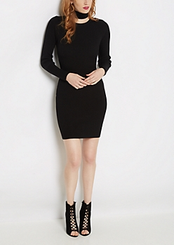 Black Rib Knit Bodycon Dress