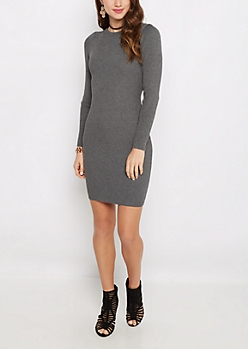 Charcoal Rib Knit Bodycon Dress