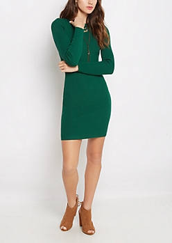 Dark Green Rib Knit Bodycon Dress