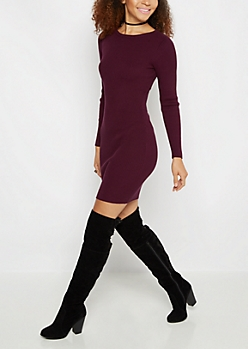 Plum Rib Knit Bodycon Dress