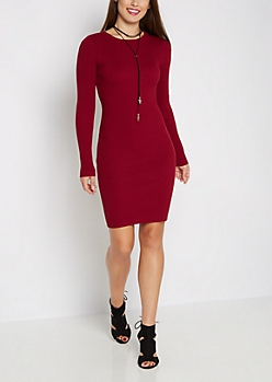 Burgundy Rib Knit Bodycon Dress