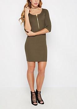 Olive Ribbed Half-Zip Sweater Dress