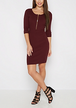 Burgundy Ribbed Half-Zip Sweater Dress