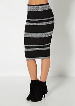 Marled Stripe Ribbed Bodycon Skirt