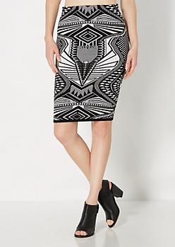 Geo Sweater Midi Skirt