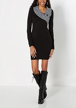 Marled Shawl Sweater Dress