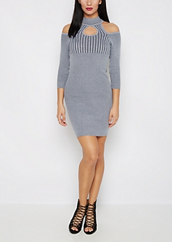 Gray Cold Shoulder Bodycon Dress