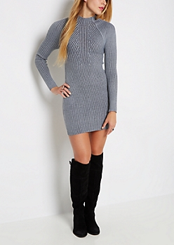Gray Rib Knit Mock Neck Sweater Dress