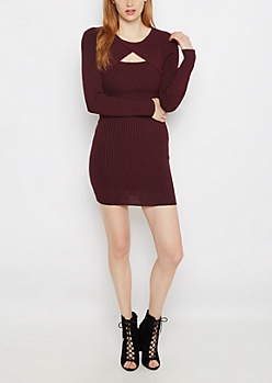 Burgundy Ribbed Keyhole Bodycon Dress