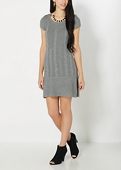 Gray Sweater Knit Dress