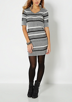 Gray Striped V-Neck Sweater Dress