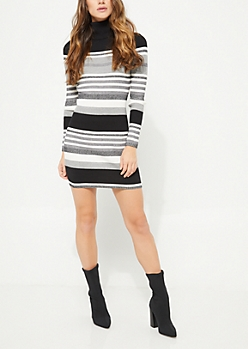 Black & Gray Metallic Ribbed Sweater Dress