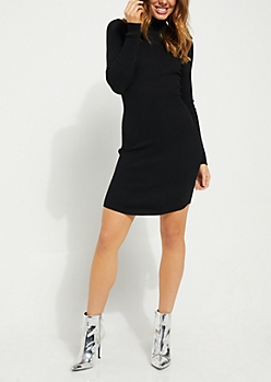 Black Ribbed Turtle Neck Bodycon Dress