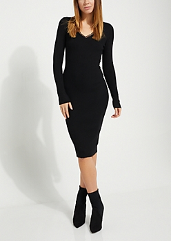 Black Lace Trim Sweater Dress