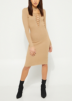 Taupe Lattice Bodycon Sweater Dress
