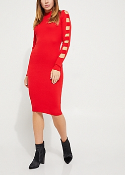 Red Bodycon Cage Sleeve Knit Dress