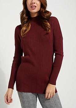 Burgundy Open Back Sweater
