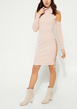 Pink Cold Shoulder Lace Up Bodycon Sweater Dress