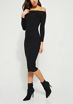 Black Off Shoulder Bodycon Sweater Midi Dress