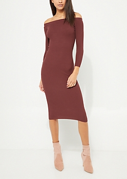 Burgundy Off Shoulder Ribbed Midi Sweater Dress