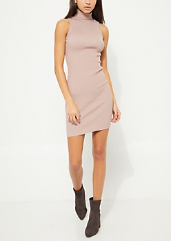 Taupe Sleeveless Mock Neck Bodycon Sweater Dress