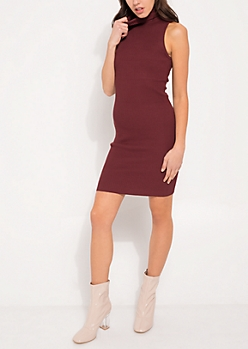 Burgundy Sleeveless Mock Neck Bodycon Sweater Dress