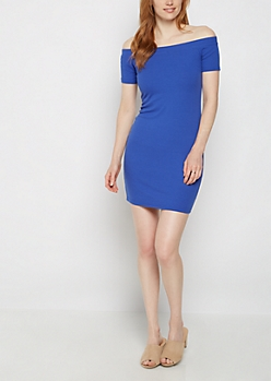 Royal Blue Off Shoulder Bodycon Dress