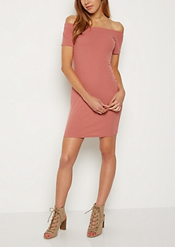 Dusty Pink Off Shoulder Bodycon Dress
