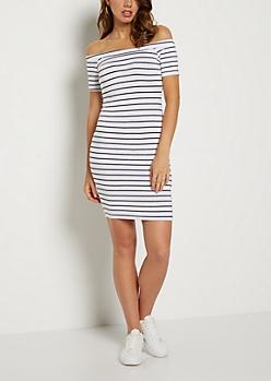 White Striped Off Shoulder Bodycon Dress