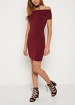 Burgundy Striped Off Shoulder Bodycon Dress