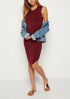 Burgundy Jersey Knit Tank Dress