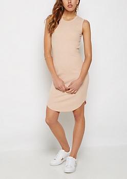 Pink Rib Knit Tank Dress