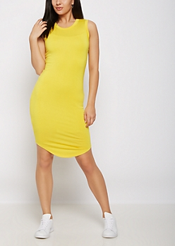 Yellow Jersey Knit Tank Dress