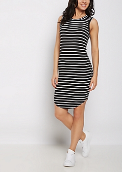 Black & White  Striped Tank Dress