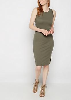 Olive Rib Knit Tank Dress