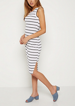 Striped Rib Knit Midi Dress