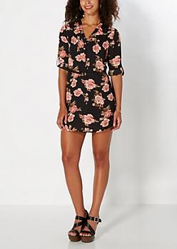 Pink Rose Belted Shirt Dress
