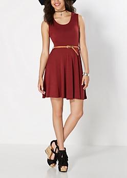 Burgundy Burgundy Belted Skater Dress