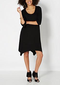Black Jersey Knit Hanky Dress