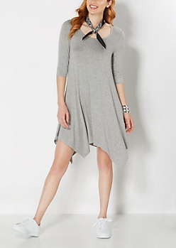 Gray Jersey Knit Hanky Dress