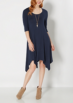 Navy Jersey Knit Hanky Dress