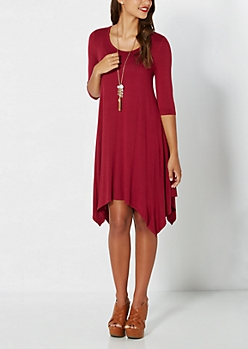 Burgundy Jersey Knit Hanky Dress