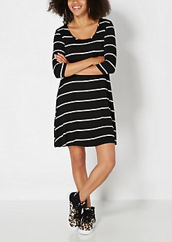 Black Striped Tent Dress