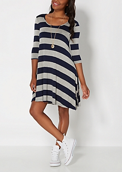 Navy Striped Tent Dress