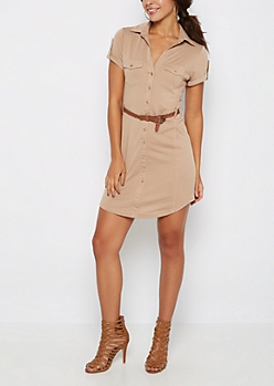 Taupe Rib Paneled Shirt Dress