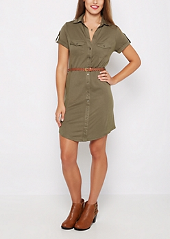 Olive Rib Paneled Shirt Dress
