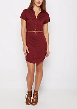 Burgundy Rib Paneled Shirt Dress