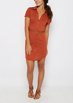 Burnt Orange Rib Paneled Shirt Dress