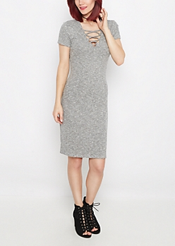 Marled Lattice Neck Midi Dress